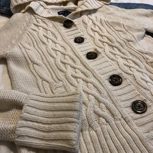 White knitted button sweater